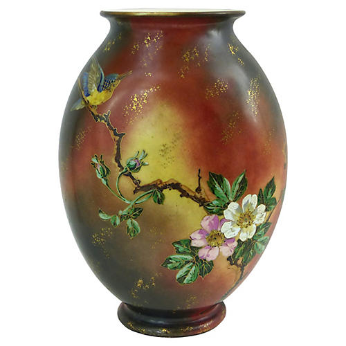 19th-C. French Hand-Painted Vase