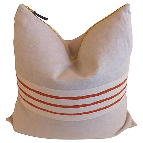 Linen Pillow w/Screened Stripes