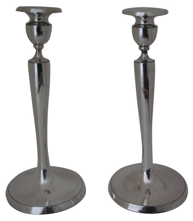 Tall Silverplate Candlesticks, Pair