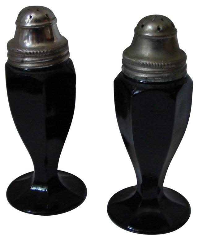 Black Glass Salt & Pepper