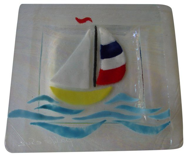 Signed Sailboat Art Glass Dish