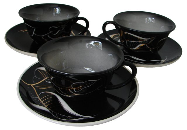 Art Deco Cups & Saucers, S/3