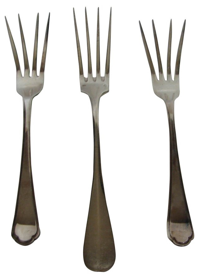 Silverplate Serving Forks, S/3