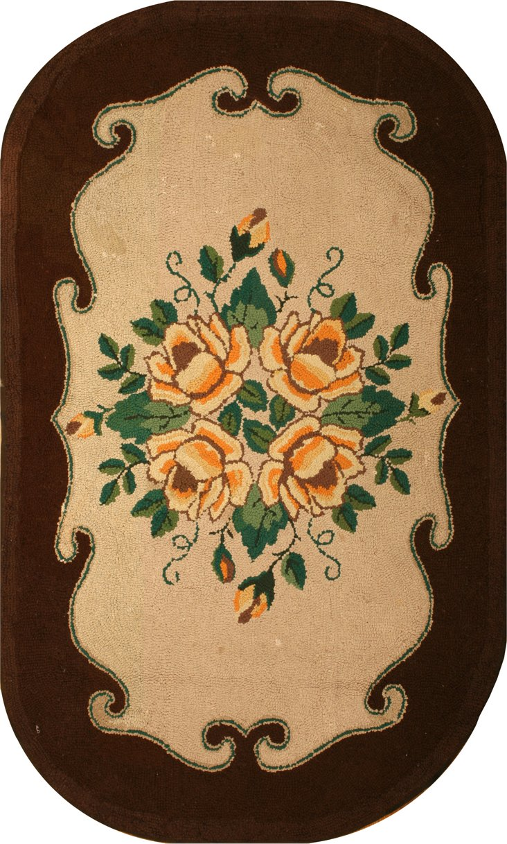 """1930s Hooked Rug, 7'9"""" x 4'5"""""""