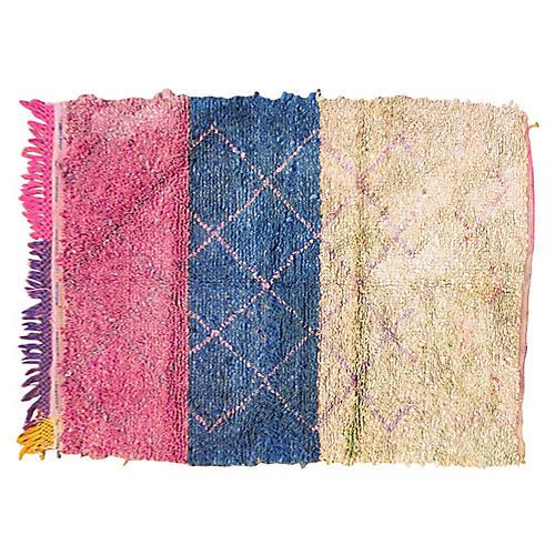 """Moroccan Boucherouitte Rug, 3'9"""" x 5'6"""""""