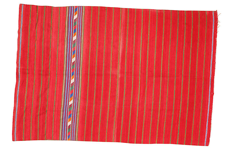 Red Navajo-Style Rug, 4'4
