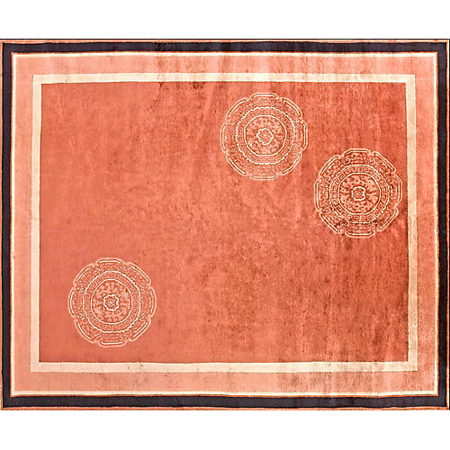 Chinese Coral Rug, 8' x 9'10""