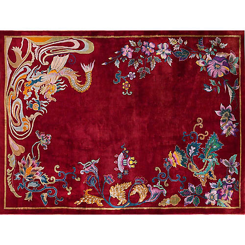 Chinese Art Deco-Style Rug, 9' x 11'8""