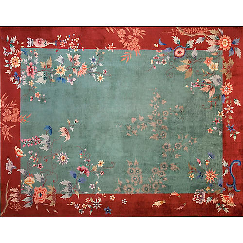 "Chinese Art Deco Rug, 11'4"" x 9'"