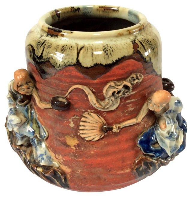 19th-C. Japanese Jar w/ Skeleton