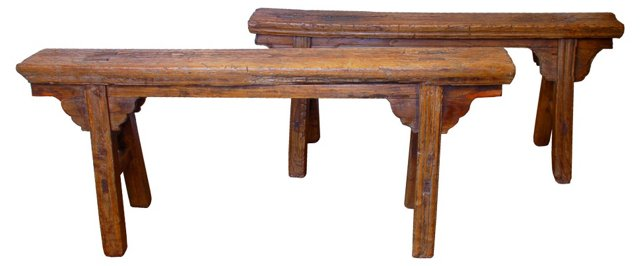 19th-C. Chinese Benches, Pair