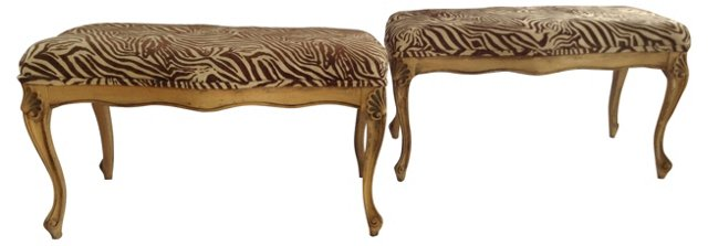 French-Style Zebra Benches, Pair