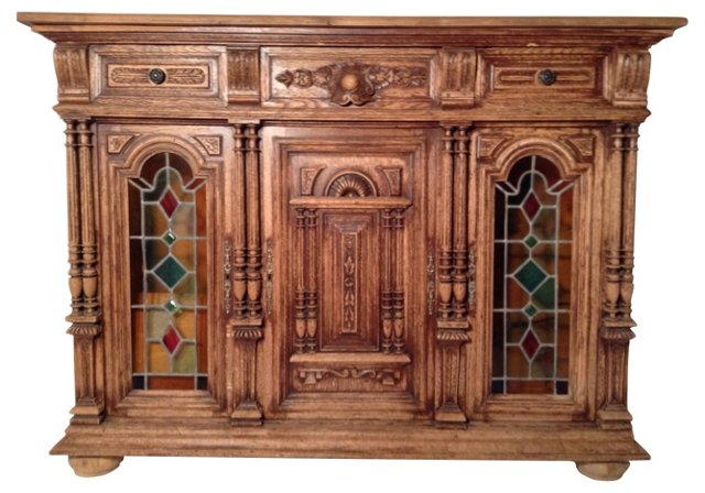 French Cabinet w/ Stained Glass