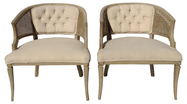 Barrel Chairs w/ Tufted Backs, Pair