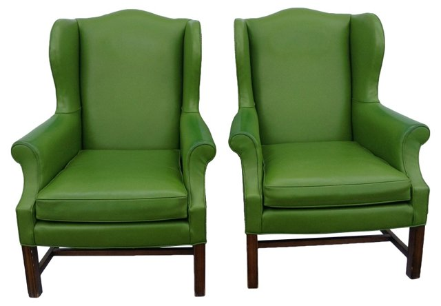 Green Leather   Wingbacks, Pair