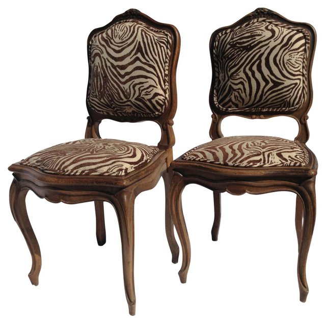 Walnut French-Style Chairs, Pair