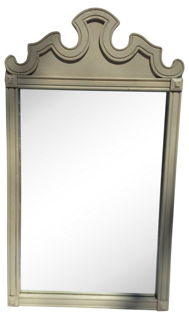 Gray Scalloped Crest Mirror