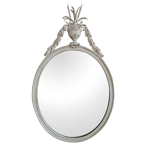 Oval Mirror w/ Cat Tail & Urn Crown