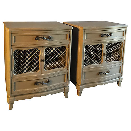 Taupe Side Tables, Pair