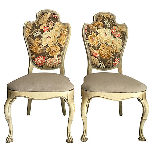 Upholstered Side Chairs, Pair