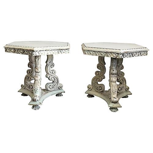 Italian Side Tables, Pair