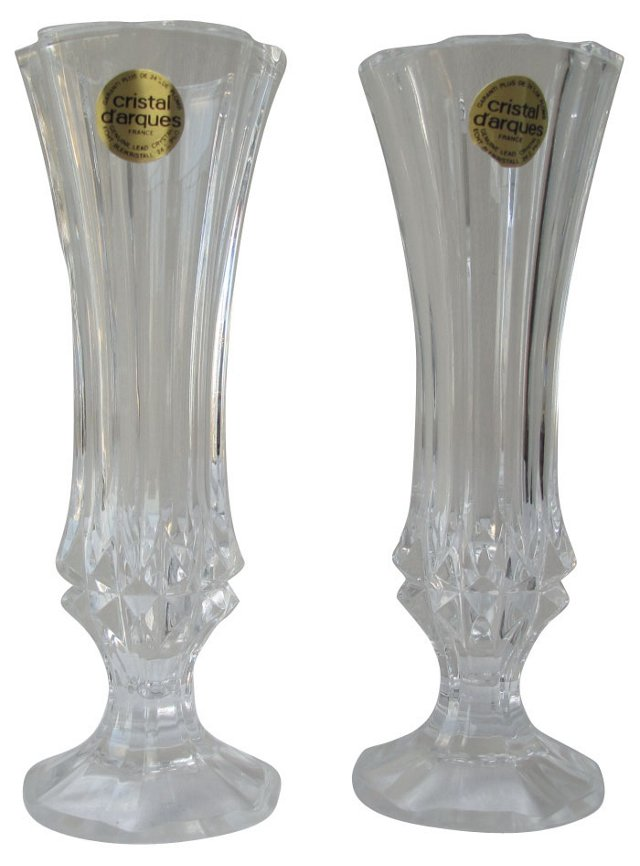 French Crystal Vases, Pair