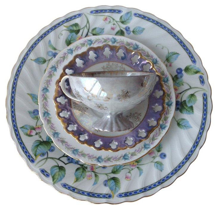 Blue & Teal Tea Set, 4 Pcs