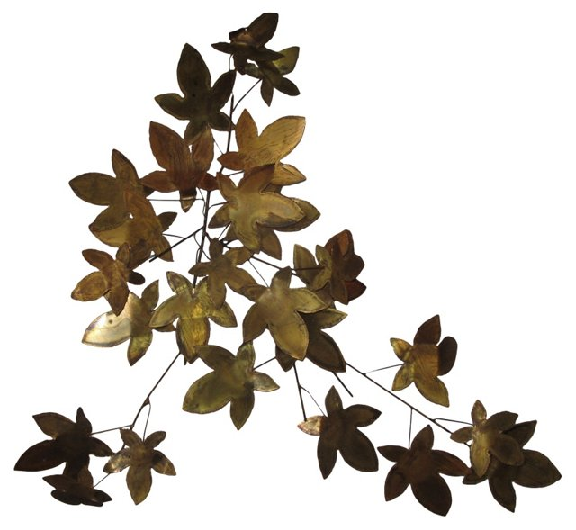 Brass Leaves Wall Sculpture