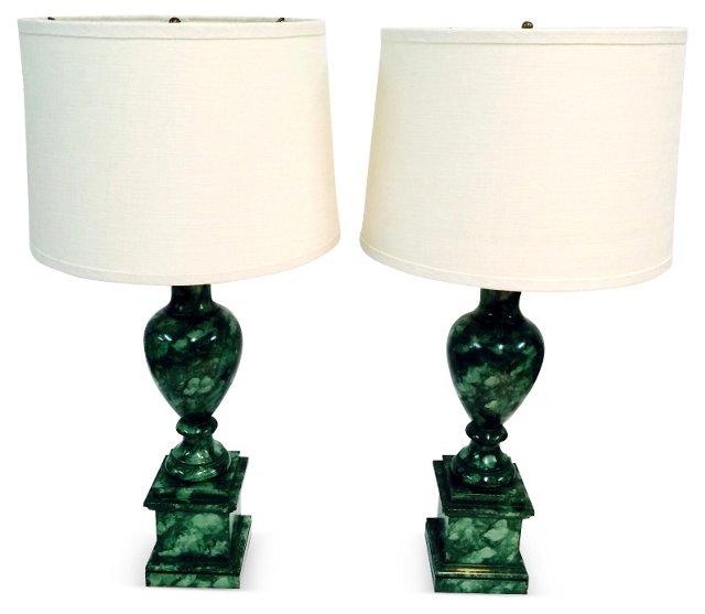 Faux-Malachite Lamps, Pair