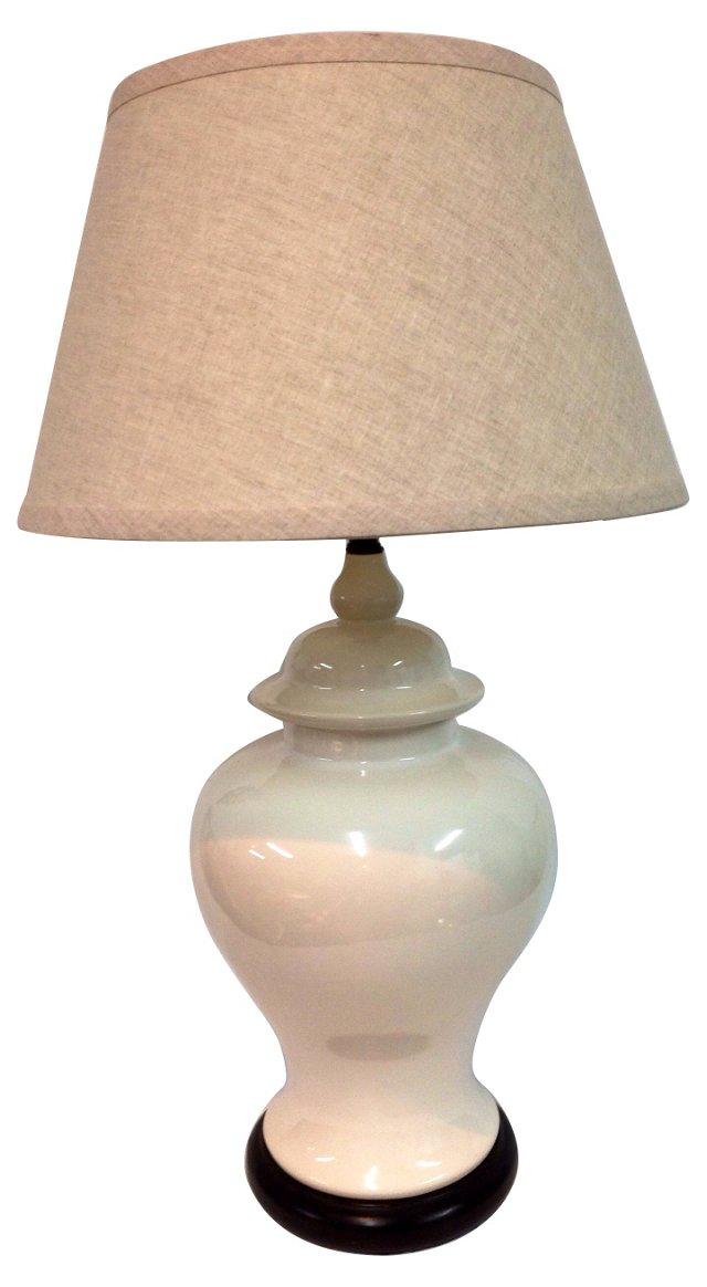White Ginger Jar Lamp