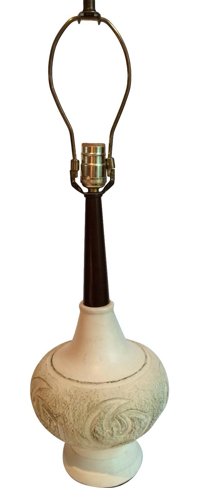 Midcentury  Wood & Ceramic Lamp