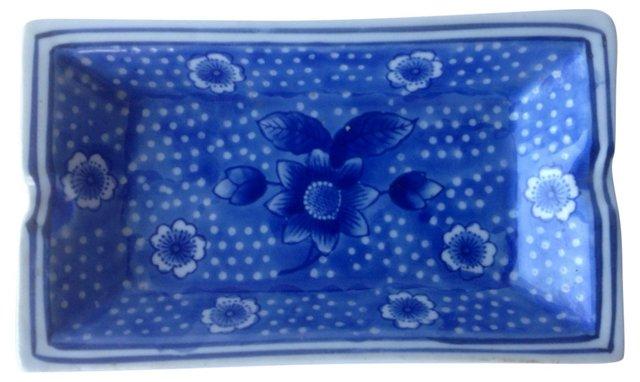 Blue & White Floral Ashtray