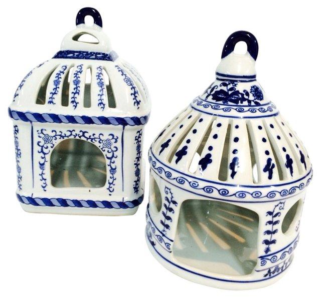 Blue & White Ceramic Lanterns, Pair