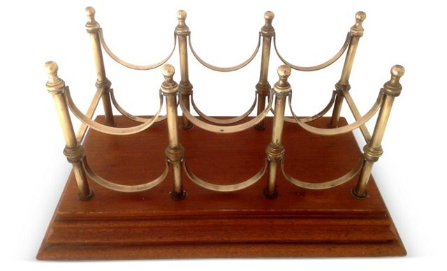 Wood & Brass Six Bottles Wine Rack