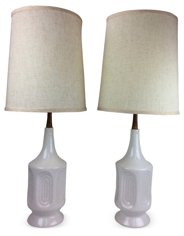 White & Teak Midcentury Lamps, Pair