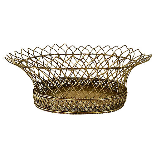 French Brass Wire Basket