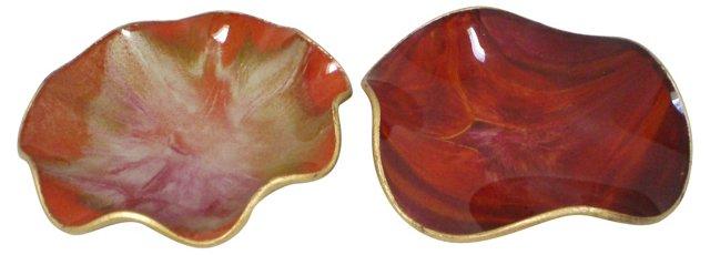 Seetusee Glass Art Plates, Pair