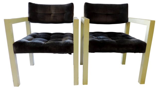Milo Baughman-Style   Chairs, Pair