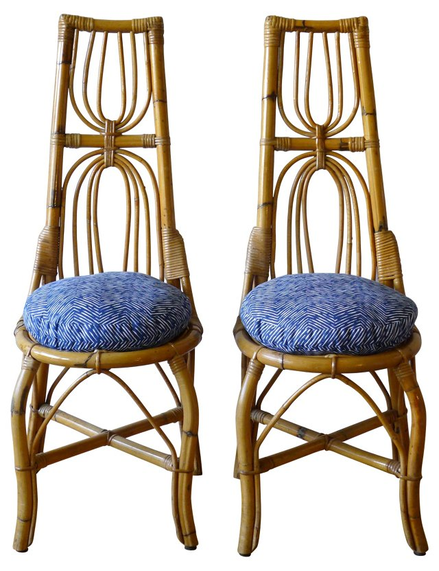 Rattan Spider-Motif Chairs, Pair