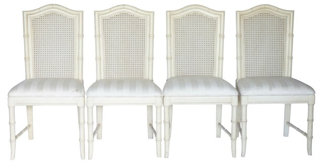 Faux-Bamboo Cane-Back Dining Chairs, S/4