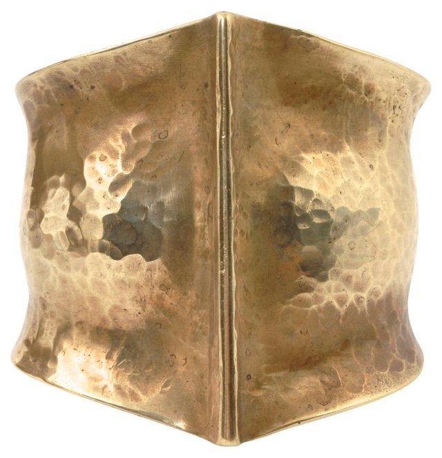 Midcentury Hammered Brass Cuff