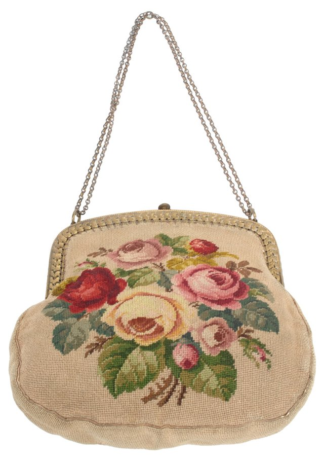 French Tapestry Evening Bag w/ Roses