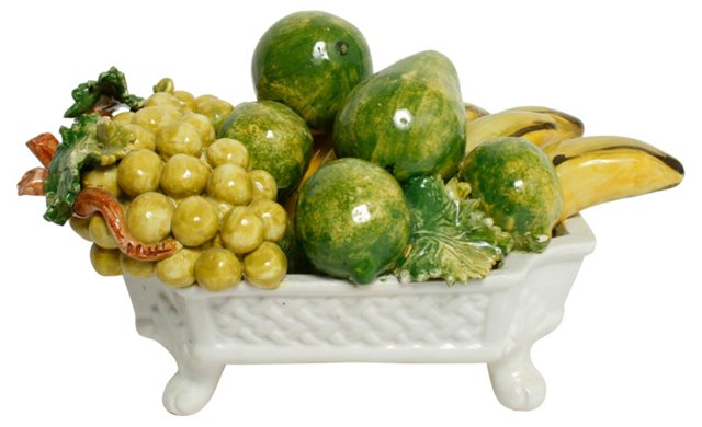 Italian Ceramic Fruit in Footed Bowl