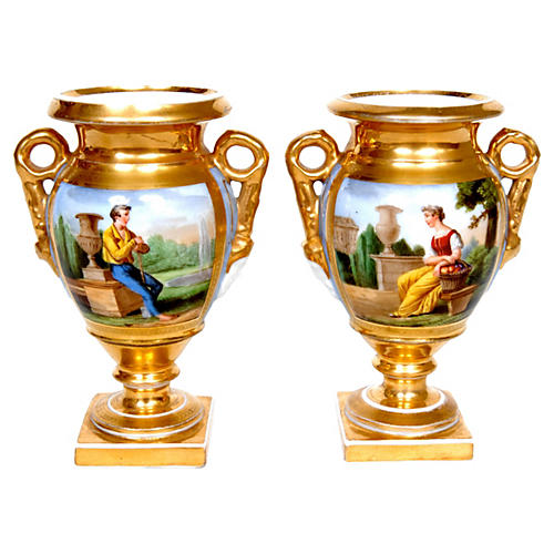 Gilt & Hand-Painted Old Paris Urns, Pair