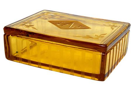 Monogrammed Amber Glass Box w/ Lid