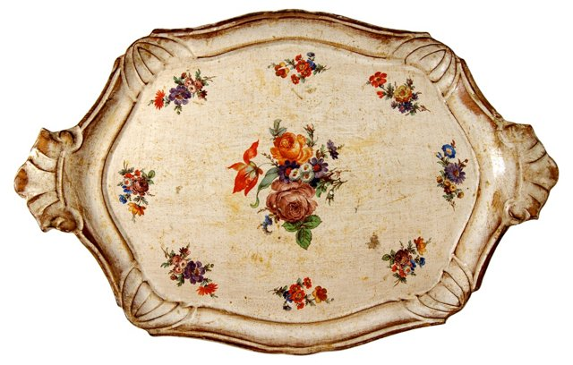 Floral Painted Tray