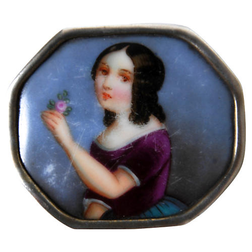 Silver Mounted Porcelain Brooch