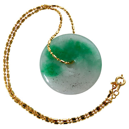 Goldtone Chain w/ Jade Drop