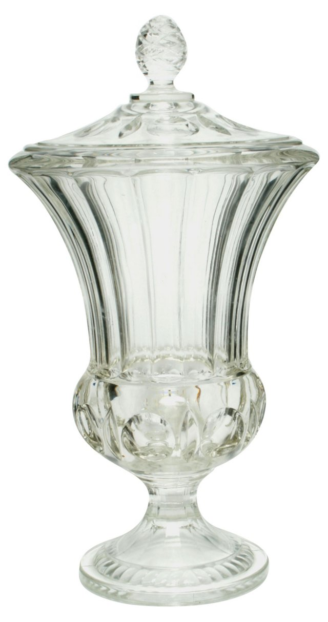 Glass Footed Urn w/ Pinecone Lid