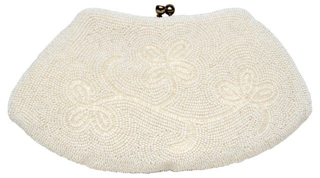 White Floral Beaded Evening Bag